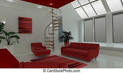 intérieur, vivant, contemporain, espace