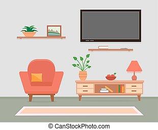 intérieur, vivant, meubles, salle, fauteuil