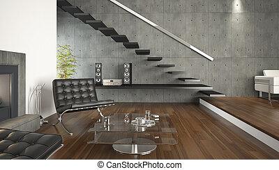 intérieur, vivant, moderne, conception, salle