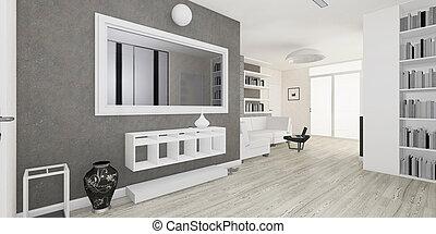 intérieur, Vivant, moderne, salle, rendre