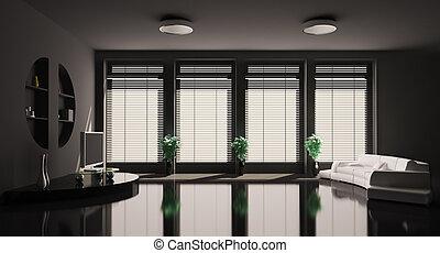 intérieur, vivant, noir, salle, 3d