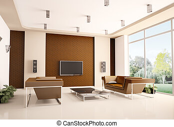 intérieur, vivant, salle moderne, 3d