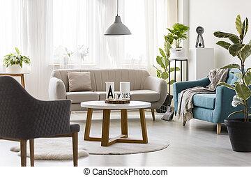 intérieur, vivant, salle moderne