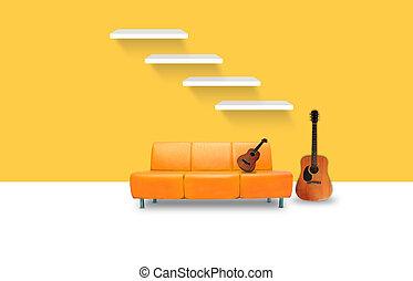 intérieur, vivant, salle moderne, meubles