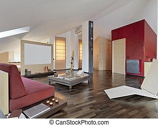 intérieur, vivant, salle moderne, vue