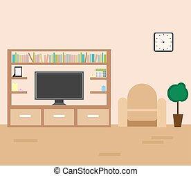 intérieur, vivant, vecteur, salle