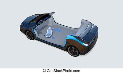 intérieur, voiture, animation, 3d