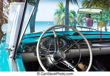 intérieur, voiture,  cuba, classique