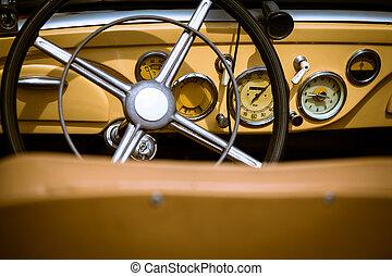 intérieur, voiture,  retro, vendange