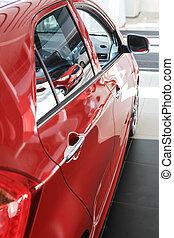 intérieur, voiture, rouges