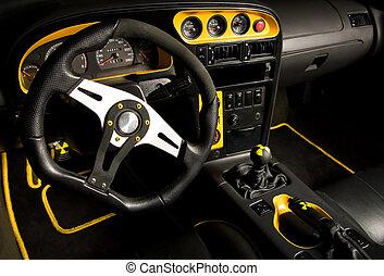 intérieur, voiture, sport, accordé