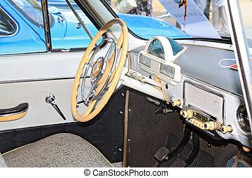 intérieur, voiture, vieux