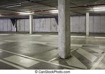intérieur, voitures, vide, stationnement