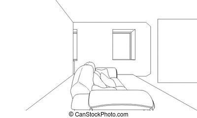 intérieur, wireframe, création, classique