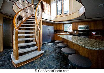 intérieur, yacht, luxe