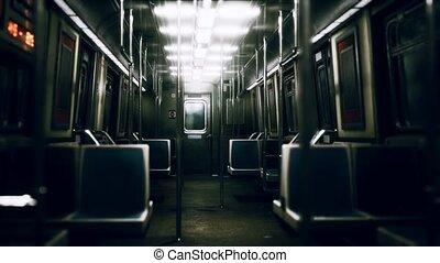 intérieur, york, métro, nouvelle voiture, vide