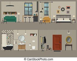 intérieurs, appartement, ensemble, icons., meubles