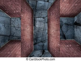 intérieurs, dimensions, trois