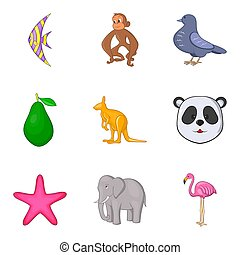 intact, nature, icônes, ensemble, dessin animé, style