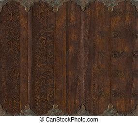 intagliato, metallo, fondo, legno, rotolo, lavoro