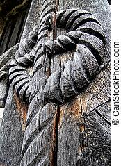 intagliato, porta legno, motivo