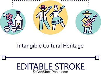 Intangible cultural heritage concept icon. Custom ...