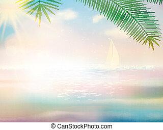 intatto, spiaggia tropicale, disegno, template.