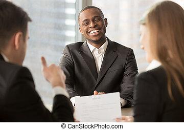 inte, 候補者, 成功した, 提示, の上, 雇用者, 黒, 親指