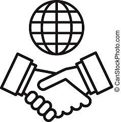 inte, poignée main, globe, partnership., vecteur, international, icon.