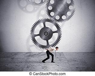 integração, conceito, com, engrenagens, sistema, mecanismo