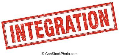 integração, quadrado, selo