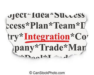 integración, plano de fondo, palabras, rasgado, periódico