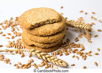 Integral cookies with linseed on white