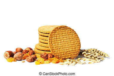 Integral cookies with various snacks on white isolated