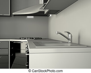 Integral kitchen furniture in a roo m.