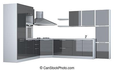 Integral kitchen furniture on white backgroun d.