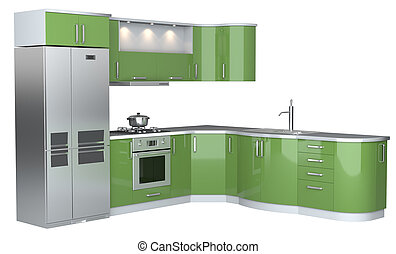 Integral kitchen furniture on white backgroun d.