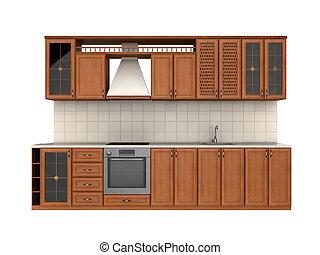 Integral kitchen furniture on white background. digitally generated image.