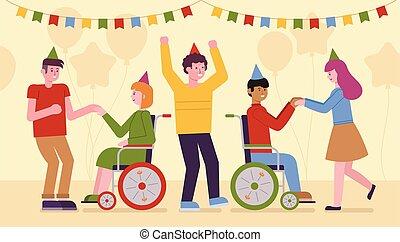 integrale, parte, since, illustrazione, vettore, partying, persone, invalido, moderno, società, inclusione