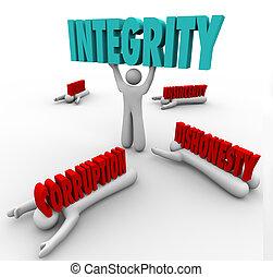 integralność, osoba, podnoszenie, słowo, konkurencyjny,...