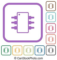 Integrated circuit alternate version simple icons in color rounded square frames on white background