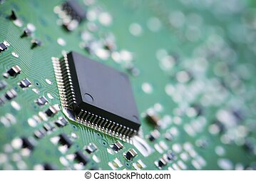 Integrated Circuit - Closeup of a chip in an integrated ...