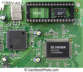 integrated circuit - close up of integrated circuits board