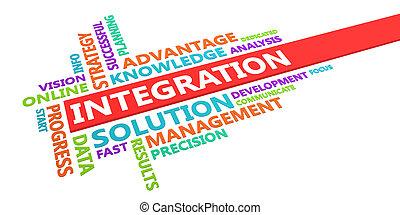 integratie, woord, wolk