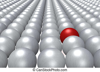 Integration - A single red ball fully integrated in a crowd...