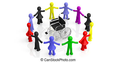 Circle of colorful human figures, wheelchair in the center, isolated on white background. 3d illustration