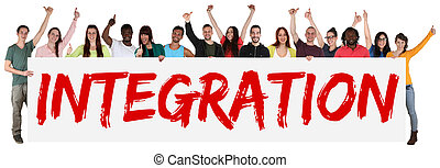 Integration group of young multi ethnic people holding banner