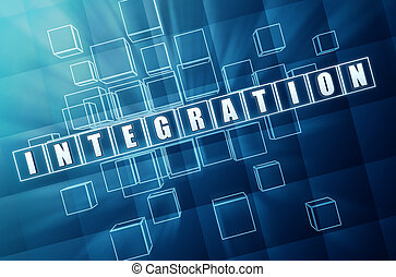 integration in blue glass cubes