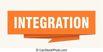 integration sign. integration paper origami speech bubble....