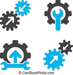 Integration Tools Flat Bicolor Vector Icons